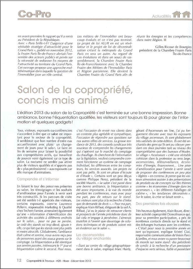 Salon copropri t 2013 copropri t travaux nous interroge - Salon de la copropriete ...
